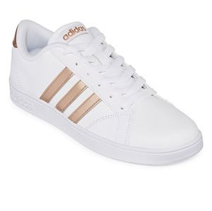 Adidas baseline white with copper stripes